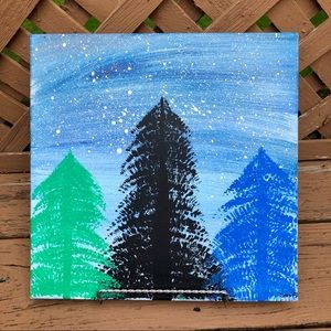 Original Pine Tree Winter Canvas Abstract Art